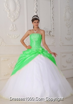 Puffy Strapless Appliques Long 2014 Sweet 15 Dresses