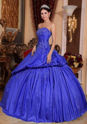 2014 Blue Puffy Strapless Appliques and Pick-ups Quinceanera Dress