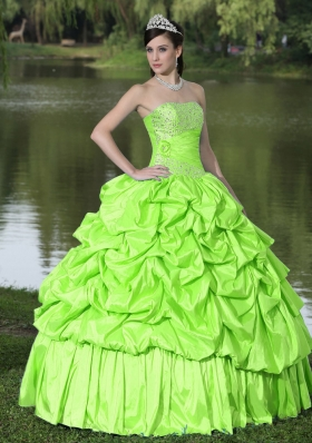 2014 Discount Strapless Quinceanera Dresses With Beaded Decorate