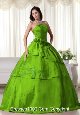 2014 Puffy Strapless Taffeta Long Quinceanera Dresses