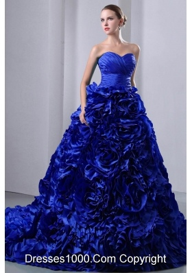 2014 Royal Blue Princess Ruching and Hand Made Flowers Quinceanea Dress