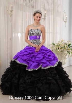Brand New Purple and Black Sweetheart Quinceanera Dress