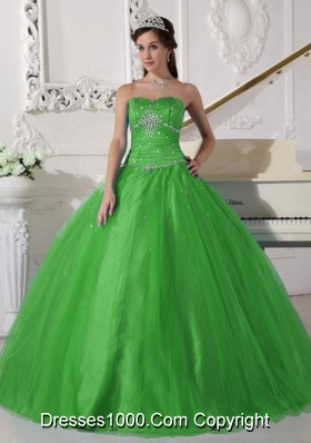 Elegant Strapless Beading and Ruching Quinceanera Gown for 2014