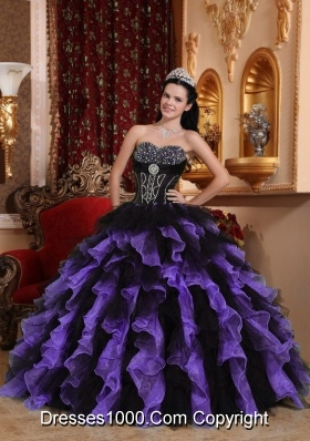 Exclusive Sweetheart Organza Quinceaneras Dresses with Beading and Ruffles