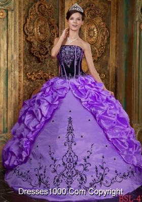 Luxurious Strapless Black Embroidery for Purple Quinceanera Dress