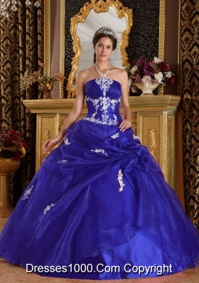 Modest Royal Blue Puffy Strapless with Appliques Quinceanera Dress for 2014