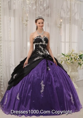 Puffy Strapless Apppliques Black and Purple Quinceanera Dress