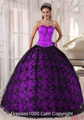 Purple and Black Puffy Sweetheart Taffeta Lace Quinceanera Gown