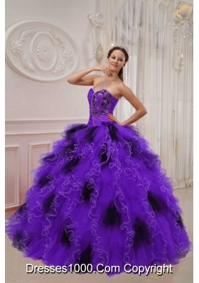 Purple and Black Sweetheart Sweet 15 Dresses with Appliques and Ruffles
