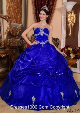 Puffy Strapless with Pick-ups and Appliques for 2014 Quinceanera DressTurquoise And White Quinceanera Dresses 2014