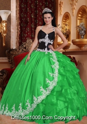 Spring Green Puffy V-neck Quinceanera Dress with Appliques