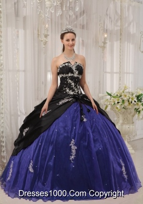 Strapless Organza Apppliques Quinceneara Dresses with Black and Blue