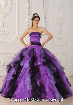 Strapless Organza Black and Purple Quinceanera Dress with Appliques and Ruffles