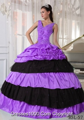 V-neck Taffeta Beading Purple and Black Quincianera Dresses with Flowers and Pick-ups