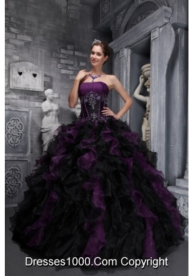 Exclusive Strapless Purple and Black Quinceanera Dress with Appliques and Ruffles