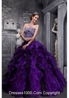 Leopard Sweetheart Purple and Black Quinceanera Dress with Organza Ruffles and Beading