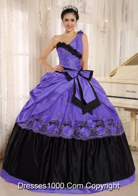 One Shoulder For 2014 Purple and Black Quinceanera Dress with Bowknot and Appliques