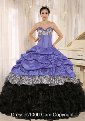 Popular Sweetheart Purple and Black Quinceanera Dress with Ruffles