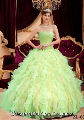 Princess Sweetheart Organza Sweet 15 Dresses with Beading and Ruffles