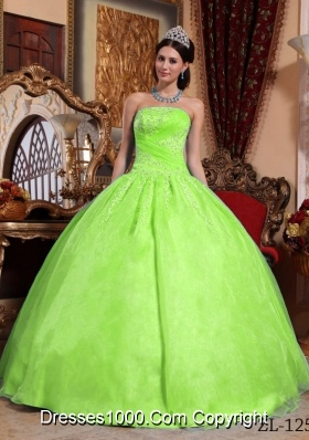 Puffy Strapless Organza Sweet Sixteen Dresses with Appliques