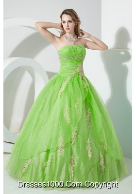 Strapless Organza Princess Quinceneara Dresses with Appliques and Beading