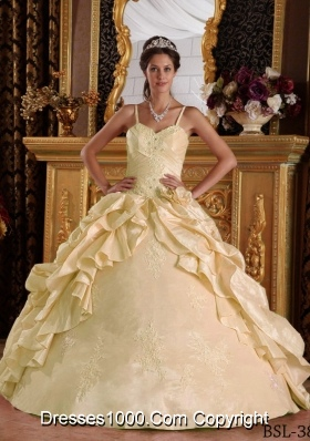 Ball Gown Taffeta Beading and Appliques Champagne Quinceanera Gowns