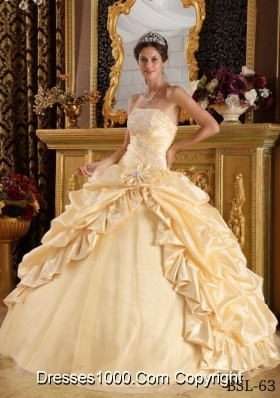 Beautiful Yellow Beading Champagne Long 2014 Quinceanera Gowns