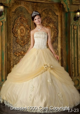 Impressive Ball Gown Strapless Floor-length Appliques Champagne Quinceanera Gowns