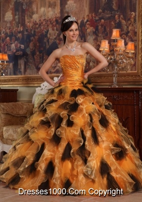 Orange and Black Strapless Organza Quinceanera Dress with Beading and Ruffles