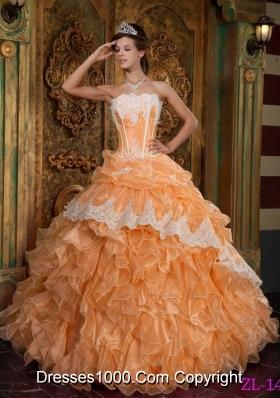 Orange Princess Strapless Ruffles and Appliques Organza Sweet Sixteen Dresses