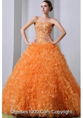 Orange Princess Sweetheart Brush Train Organza Quinceanea Dresses with Beading and Ruffles