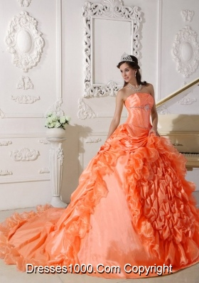 Orange Red Strapless Chapel Train Quinceanera Gowns with Beading
