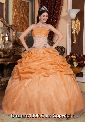 Orange Strapless Organza Quinceanera Dress with Appliques and Pick-ups