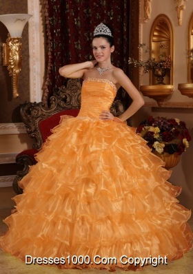 Orange Strapless Organza Sweet Sixteen Dresses with Beading and Layers