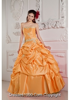 Orange Strapless Taffeta Appliques and Beading Dresses For a Quince