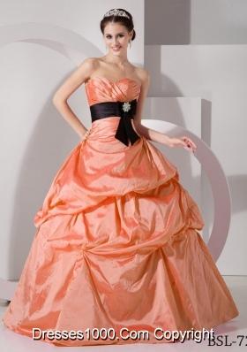 Orange Sweetheart Princess Discount Quinceanea Dresses with Black Sash