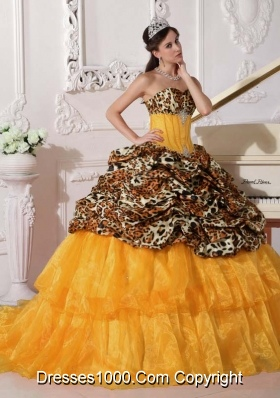 Orange Sweetheart Sweep Train Leopard Quinceneara Dresses with Pick-ups