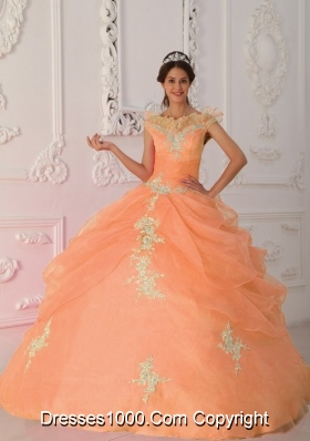 Orange V-neck Quinceanera Gowns with Beading and Appliques
