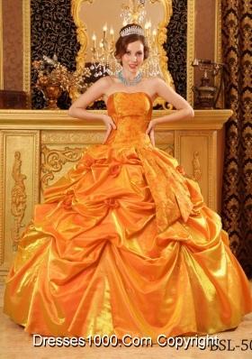 Popular Taffeta Hand Made Flowers and Pick-ups Orange Quinceneara Dresses