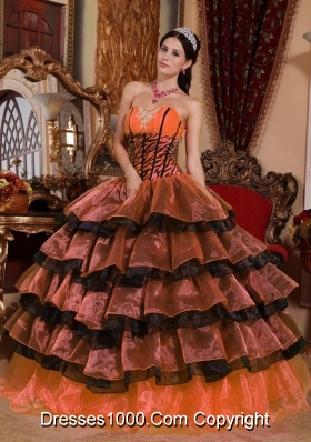 Pretty Sweetheart Quinceanera Dresses with Organza Layers and Appliques