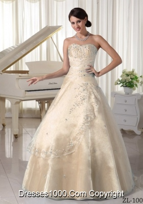 Sweetheart A-line Appliques Beading Champagne Quinceanera Gowns For Military Ball