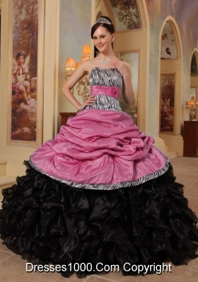 2014 New Arrival Zebra Ruffled Pink and Black Dresses Quinceanera