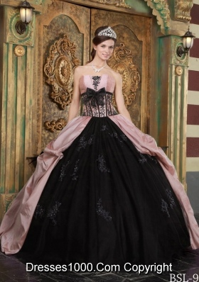 Baby Pink and Black Strapless Quinceanera Dress with Appliques