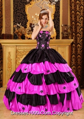 Black and Hot Pink Strapless Taffeta Quinceanera Dresses with Layers