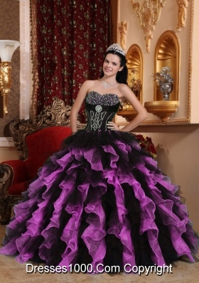 Exclusive Sweetheart Organza Beading Quinceanera Dresses Gowns with Beading and Ruffles