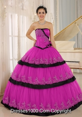 Pink and Black Quinceanera Dresses