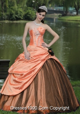 Orange and Black Appliques and Flowers Quinceanera Dresses Custom Made