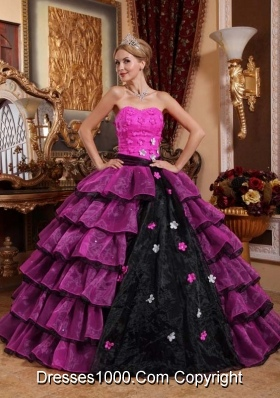 Organza Puffy Pink and Black Quinceanera Dresses with Layers and Flowers