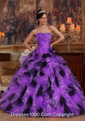 Purple and Black Princess Strapless Organza Quinceanera Dress with Ruffles