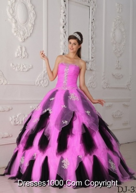 Rose Pink and Black Princess Quinceanera Dresses Gowns with Ruffles and Appliques